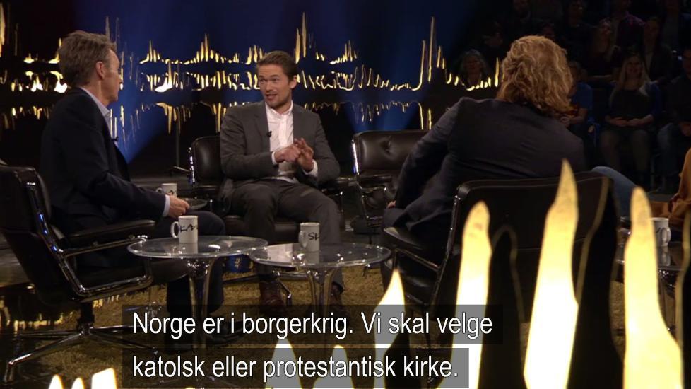 - IKKE KORREKT: Da Jakob Oftebro og Kristofer Hivju besøkte «Skavlan» i går kveld, fikk førstnevnte i oppgave å forklare historien bak «Birkebeinerne». Den forklaringa viser seg imidlertid å ikke være helt riktig. Foto: NRK