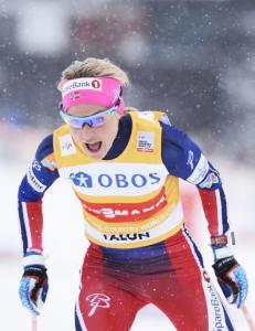 Tredobbelt norsk i Falun. Johaug n�rmer seg Bj�rgens rekord