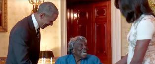 18 presidenter har hatt makten siden Virginia (106) ble f�dt - danser av glede n�r hun m�ter Obama
