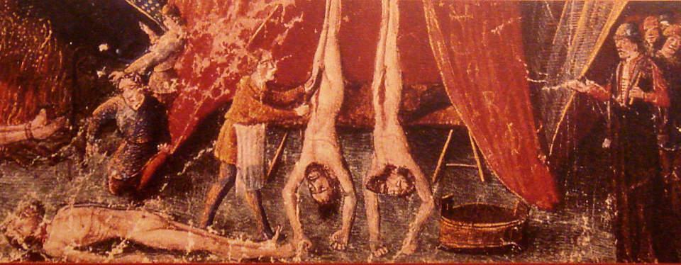 BRUTALITET: B�de j�der og muslimer fikk unngjelde for de kristne korstogsfarernes framferd. Massehenrettelser skjedde p� begge sider. Denne fremstillingen finnes i Les Croisades, Origines et consequences av Claude Lebedel, og er fra 1200-tallet. Foto: WIKIMEDIA