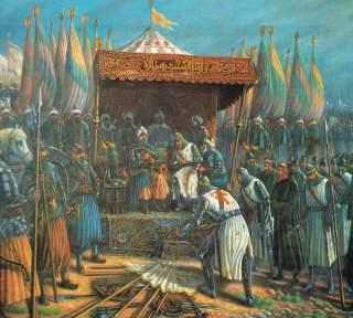 STOR HELT: Saladin feirer seieren etter slaget ved Hattin. Dette ble vendepunktet i korstogene. De kristne kom aldri like sterkt tilbake. Foto: WIKIPEDIA