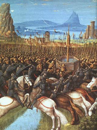 SLAGET VED HATTIN: I 1187 mistet korsfarerne Jerusalem da styrkeforholdet mellom korsfarere og muslimer tippet s� mye i Saladins fav�r at tapet ble unng�elig. Etter slaget falt den ene kristne borgen etter den andre for Saladin. Foto: WIKIMEDIA