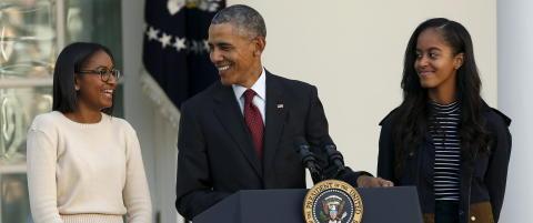 - Jeg tror Obama er den f�rste presidenten som har skiftet bleier