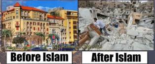 Bildet viser hvordan islam er skyld i d�d og �deleggelse. Det er bare ett problem