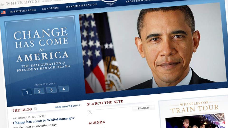 ANSIKTSL�FTNING: Barack Obama startet presidentperioden sin med � totalrenovere hjemmesiden til Det hvite hus. Faksimile: Whitehouse.gov