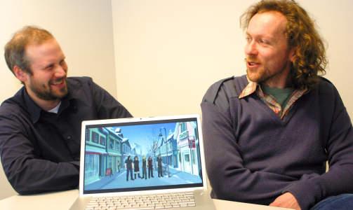 LAGET ARKIV: Andr� Larsen Avelin (t.v.) og Bj�rn Erik haugen har samlet klipp fra amerikanske filmer og tv-serier som omhandler nordmenn. Her med en scene fra black metal-tegnefilmen Metalocalypse, hvor heltene bes�ker Lillehammer. Foto: MARIE L. KLEVE