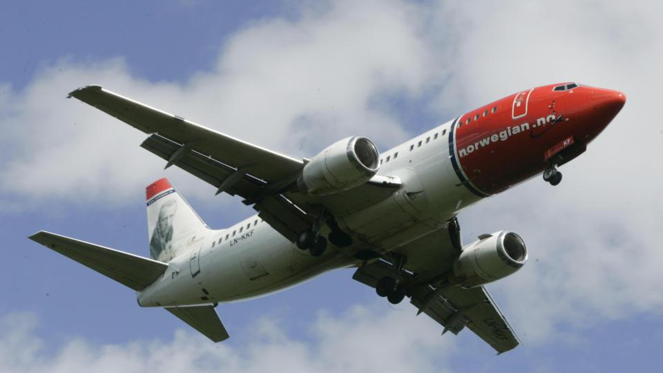 TRUFFET AV LYNET: Et av Norwegians fly ble truffet av lynet fredag ettermiddag. Illusrasjonsfoto: Morten Holm / SCANPIX .