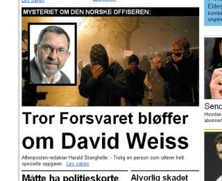 AFTENPOSTEN: Redakt�r Harald Stanghelle har beskyldt Forsvaret for � bl�ffe om tilknytningen til Weiss. Faksimile: Aftenposten.no 5/4-09