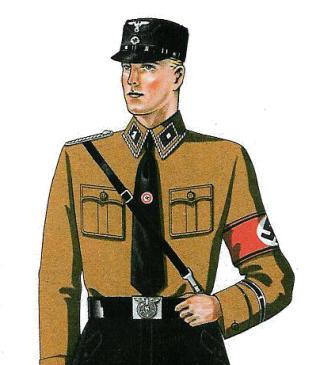 DESIGNET AV HUGO BOSS: I 1933 fikk Hugo Boss anbudet p� � designe blant annet de svarte uniformene til SS, de brune skjortene til SA og Hitlerjugends brunsvarte uniformer. Boss hadde fram til da designet uniformer til politi og postvesen. Foto: WIKIMEDIA