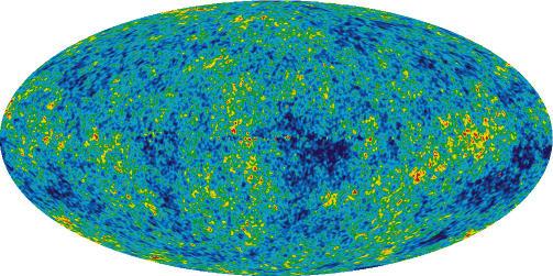 STRÅLING: Bildet WMAP-satellitten har tatt av ujevnhetene i den kosmiske   bakgrunnsstrålingen. Bildet er et kart over hele himmelen. Flekkene er   såkornene til det som senere utviklet seg til de komplekse strukturene   vi har rundt oss i dag. Foto: WMAP Science Team