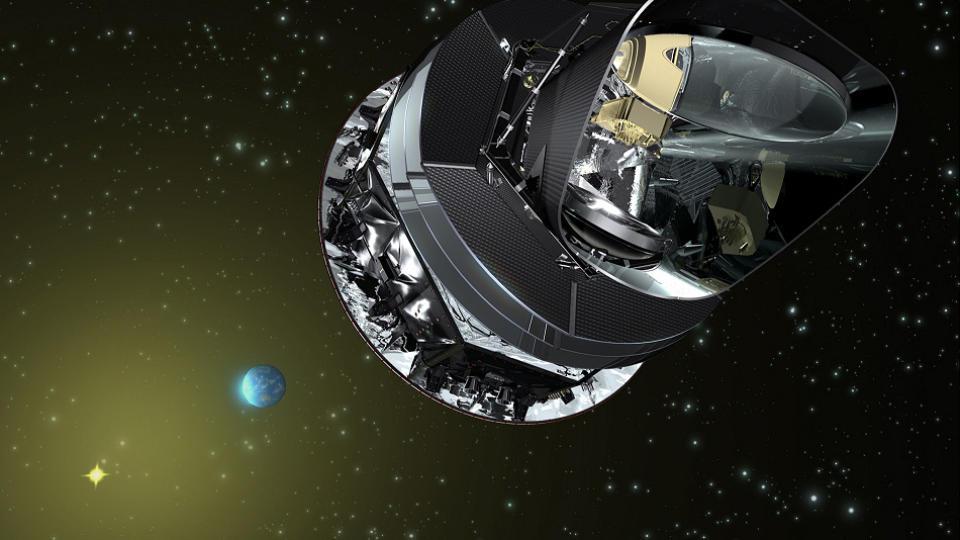 TILBAKE I TID: Planck-satellitten som skytes opp 14. mai skal gj�re sv�rt detaljerte observasjoner   av hvordan universet s� ut like etter Big Bang. Illustrasjon: ESA