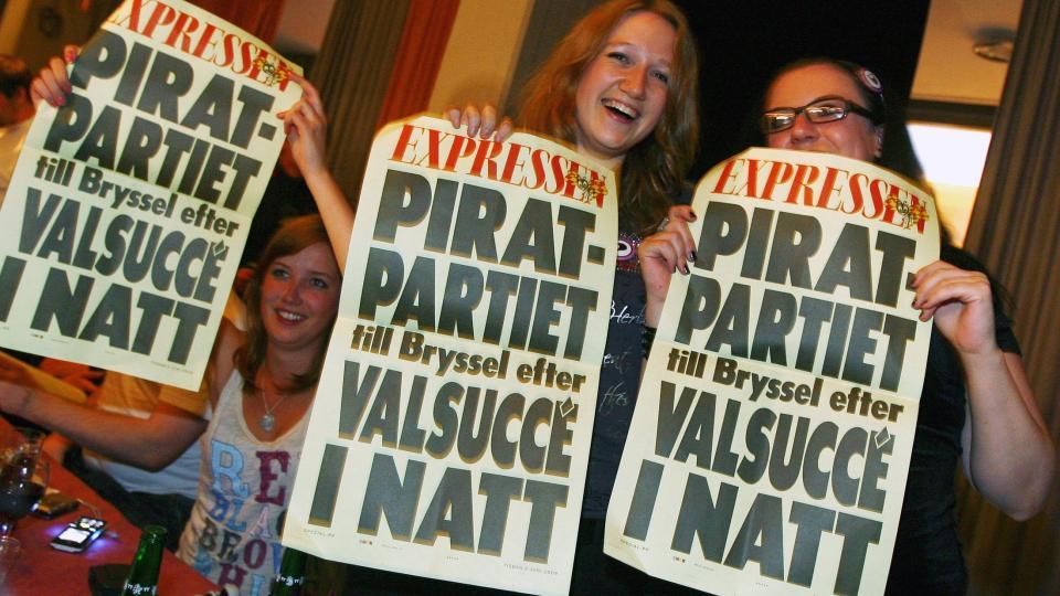 OPPSIKTSVEKKENDE VALGRESULTAT: Piratpartiet f�r minst �n, kanskje tre, plasser i EU-parlamentet. FOTO: SCANPIX