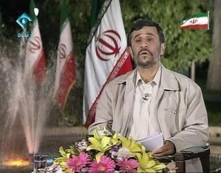 NEKTER FOR VALGFUSK: President Ahmadinejad hevder valget gikk riktig for seg. Foto: SCANPIX/AP Photo / IRIB 1 TV