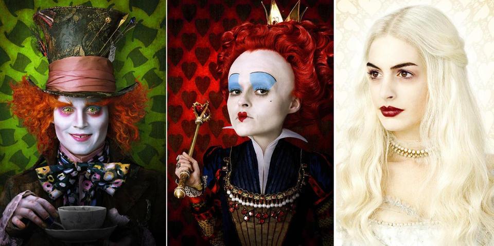 KARAKTERBILDER SLUPPET: Fra venstre: Johnny Depp som Hattemakeren, Helena Bonham Carter som den gale dronningen og Anne Hathaway som den kritthvite dronningen.