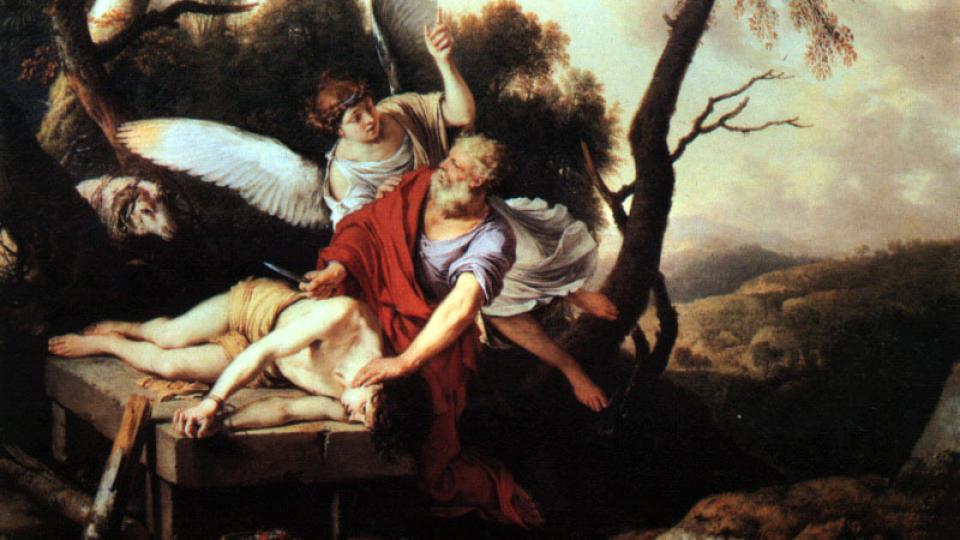 ABRAHAM OFRER ISAK: Dette maleriet fra 1650 er laget av Laurent de LaHire. Foto: WIKIMEDIA COMMONS
