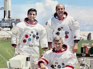 SIST: Apollo-17-mannskapet: Harrison H. Schmit (t.v.) Eugene A. Cernan og Ronald E. Evans (t.h.) er de siste som har vrt p mnen. Det skjedde i 1972. Foto: NASA