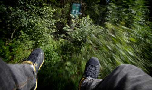 ZIP-LINE:  � krysse Norges lengste wire-bane Mega-Zipline i H�yt & Lavt aktivitetspark kan v�re b�de skummelt og spennende. Idet man suser over L�gen kan man beundre naturen og nyte adrenalinrushet. Foto: Lars Lindqvist.