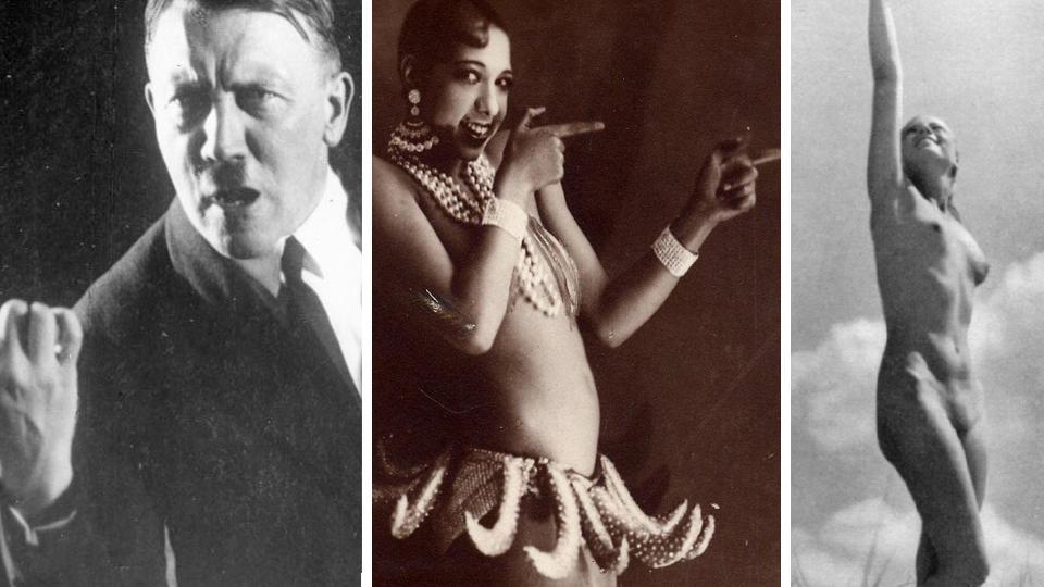 PRINSIPPL�ST OG AMBIVALENT: Hitlers forhold til sex og ekteskap varierte mye. Han p�b�d b�de at man skulle gifte seg kun av lykke, og dessuten bare for � videref�re arten. Nakenhet var lov, det ble arranget store fester (til h�yre) med nakne nasjonalsosialister som viste fram sine idealkropper. Men nakne Josephine Baker (i midten) var b�de obsk�n og ut�lelig.