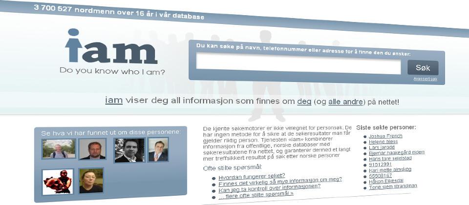 OMSTRIDT: Datatilsynet vil ha svar p� en rekke sp�rsm�l fra de ansvarlige bak persons�ketjenesten iam.no. Foto: FAKSIMILE