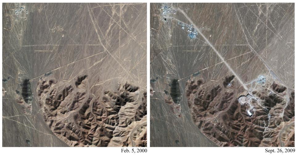 ATOMANLEGG?: Disse to satelittbildene, tatt med over ni �rs mellomrom, viser omr�det der Iran angivelig skal ha startet sitt andre atomanlegg. Det er ikke endelig klarlagt om anlegget faktisk ligger her.  Foto: AP Photo/GeoEye Satellite Image/IHS Jane's Analysis/Scanpix