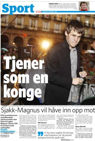GULLKANTET TALENT: Magnus Carlsen kan tjene opptil 20 millioner bare de neste to �rene. Faksimile: Dagbladet
