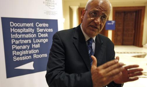 SANT SOM ER: - Det kan snart v�re p� tide for president Mahmoud Abbas � si som sant er til sitt folk; dersom bosetningsaktiviteten p� den okkuperte Vestbredden fortsetter, er ikke lenger tostatsl�sningen en mulighet, sier Saeb Erekat. Foto: SCANPIX