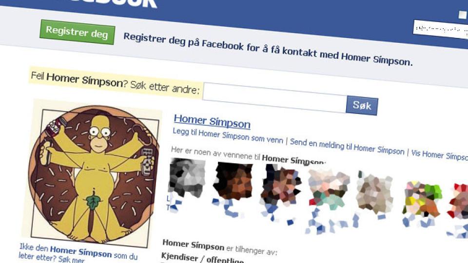 HAR MANGE VENNER: Men denne Homer Simpson-profilen eksisterer �yensynlig bare for � samle inn bilder av jenter. Skjermdump av Facebook.