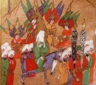PROFETEN MOHAMMED MED FIRE ENGLER: Gabriel, Mikael, Israfil og Azrail f�lger profeten p� reisen mot Mekka. Legg merke til englenes doble vingesett. Foto: WIKIMEDIA