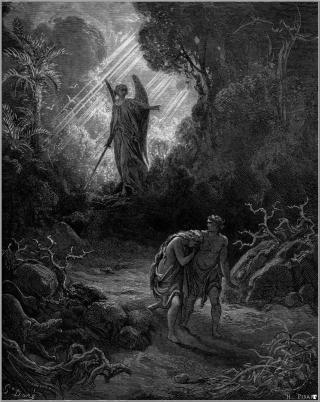 VOKTET EDENS HAGE:  Gud jager Adam og Eva ut av Eden ved hjelp av en engel. Foto: WIKIMEDIA