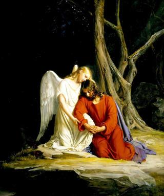 TR�STEENGEL: Denne engelen tr�ster Jesus  f�r han arresteres i Gethsemane. Foto: WIKIMEDIA