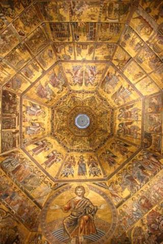 ENGLEHIERARKIET I KRISTENDOMMEN: Rundt �r 500 forsket tidens fremste teologer, anf�rt av Dionysos fra Syria, seg frem til at det finnes ni klasser engler. P� toppen st�r serafene. Dette er englehierarkiet fremstilt i kuppelen i Baptisteriet til Domkirken i Firenze. Foto: WIKIMEDIA
