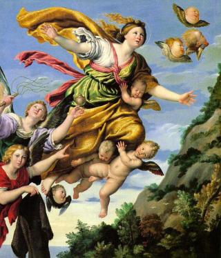 FORANDRET KARAKTER: Englene er blitt fremstilt p� mange ulike m�ter i kunsten opp gjennom �rene. Dette er Domenichinos engler fra 1620. Foto: WIKIMEDIA