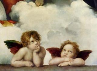 RAFAELS ENGLER: Disse englene malte Rafael i 1513 - 1524. De er senere blitt en inspirasjon for kristne engler, julepynt og postkort. Englene finnes nederst p� Rafaels maleri Sistine Madonna. Foto: WIKIMEDIA
