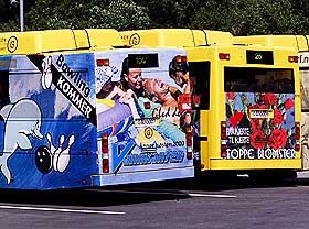 FARLIG REKLAME:  Disse bussene tilh�rer Gaia Trafikk i Bergen som n� fjerner reklamefoliene.