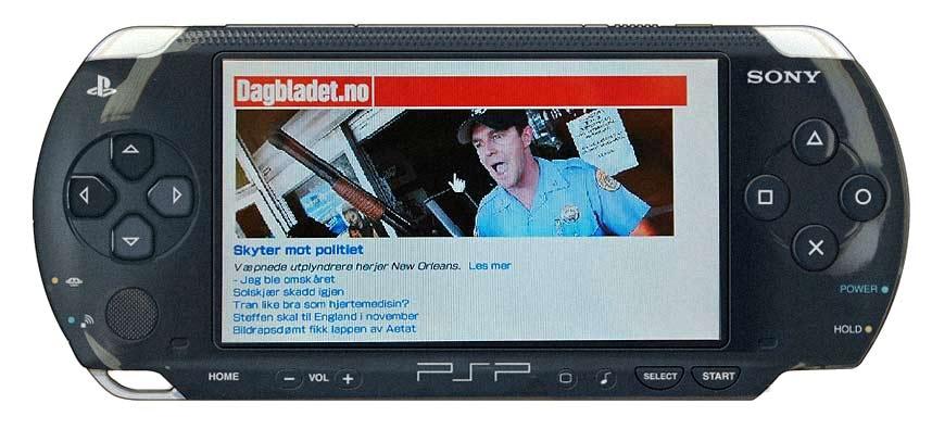 DAGBLADET.NO PÅ PSP: Den store skjermen til PSP egner seg ikke bare godt til spilling - den er også en fryd å surfe på nettet med. For å teste, gå til wap.dagbladet.no.