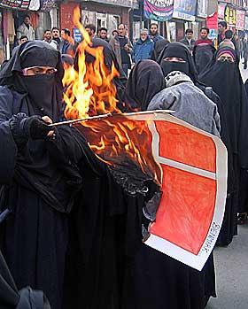 KASHMIR: Muslimske demonstranter tente p� det danske flagget i protest mot tegningene i Srinagar 9. desember.