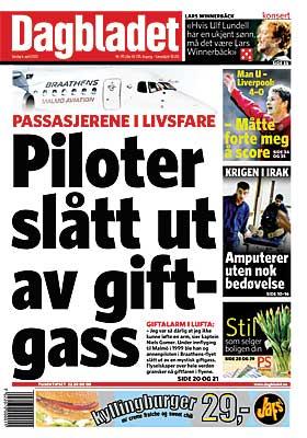 FLYFARE: Allerede 6. april 2003 avslørte Dagbladet at giftige organofosfater i oljer kan forgifte flygende personell og passasjerer.
