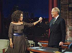 Her er Oprah på besøk hos David Lettermans «The Late Show».