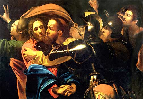 JUDAS OG JEDUS: Judas kysser Jesus for å peke ham ut for romerne. Forr