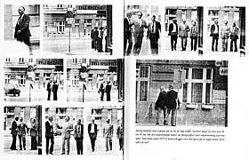 M�TET MED TITOV: Hele bildeserien fra m�tet mellom Treholt og KGBs Titov ble offentliggjort i �Kappefall�. Haugestad mener dette ikke er et hemmelig spionm�te. Latteren og den avslappede stemningen mener advokaten tyder p� det motsatte.