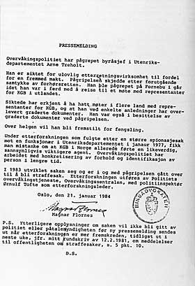 TREHOLT TATT: Pressemeldingen om p�gripelsen av byr�sjef Treholt, sendt ut av riksadvokat Magnar Flornes 21. januar 1984.