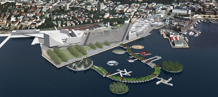 FLYTEPARADIS: «Noahs park» er navnet arkitektene har gitt flyteparken havnevesenet i Oslo ønsker å bygge på Filipstadkaia.