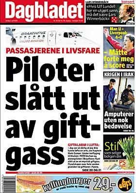 6. APRIL 2003: Allerede i 2003 kunne Dagbladet avsløre den livsfarlige problematikken rundt avgasser i flykabinen.