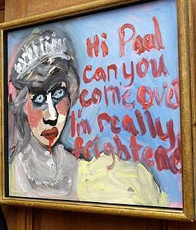 SKAPTE RABALDER: Vines bilde av en blodig Diana skapte oppstyr i England. Den rike kunstsamleren Charles Saatchi kj�pte bildet.
