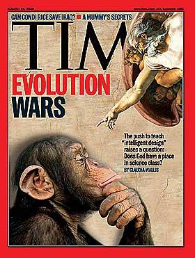 EVOLUSJONSKRIGEN: USA fulgte med argus�yne Kitzmiller v. Dover. Slik var forsiden p� magasinet Time.
