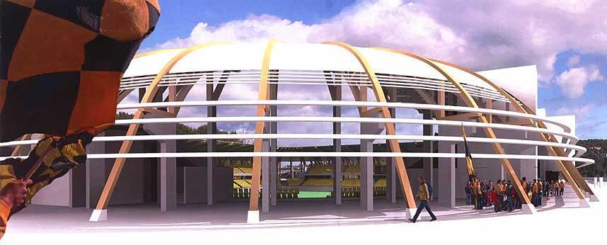 BUET TAK: En limtrebue g�r fra bakken og over taket p� tribunen - og slipper lys inn p� stadion - som n� f�r navnet S�r Arena.