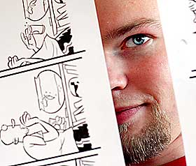 HARSELAS:   M harselerer med myter, sier tegneren Mads Eriksen.