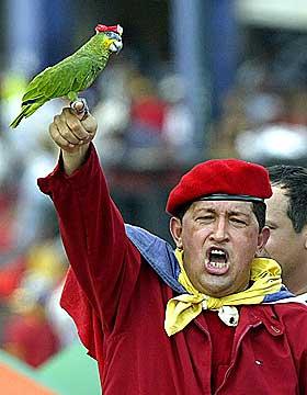I SIGNATURKOSTYMET: Chavez og papeg�yen med r�d beret i oktober 2002. I april det �ret ble han fors�kt styrtet i et kuppfors�k.