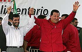 M�TE: Chavez og  Irans president Mahmoud Ahmadinejad m�ttes i Venezuela i fjor. De to er begge sterkt anti-amerikanske.