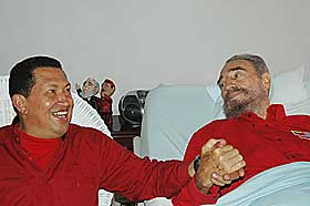 GODE VENNER: Chavez og Castro i Havana 13. august i fjor etter at Castro ble syk.